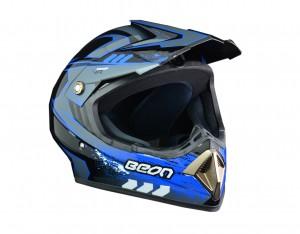 CASCO CROSS B600 C/GRAFICA NEG/AZU BRILL. T/S BEON