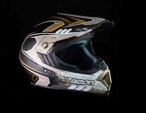 CASCO CROSS B600 C/GRAFICA MATE NEGRO/ORO T/S BEON